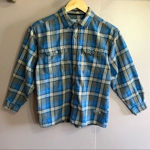 LEVI'S SILVER TAB BLUE & GRAY FLANNEL BUTTON UP